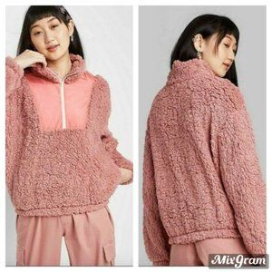 Wild Fable Quarter Zip Pullover Sherpa Pink Large
